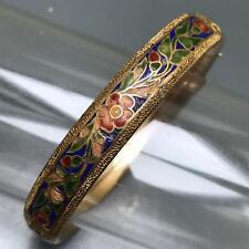 Antique Victorian Rose Gold Filled GF Enamel Hinged Bangle Bracelet Mason Howard