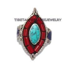 Adjustable Turquoise Lapis Ring Coral ring Gypsy ring Tibetan ring Tibet Ring 29