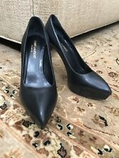 Yves Saint Laurent Black Pointed Toe Platform Stiletto Heel Pumps Size 37.5