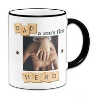 Personalised Dad A Sons First Hero Novelty Mug - Black Handle/Rim