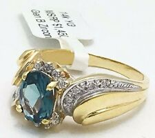 Natural 1.50 Cts BLUE ZIRCON & DIAMONDS 14k Gold Ring Msrp $1,450 *FREE SHIPPING