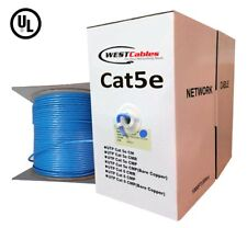 1000ft Cat5e Riser Cable Pure Copper Solid UL LISTED Ethernet 350Mhz Wire Blue