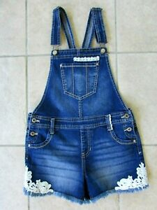 Jordache Girls Denim Bib Overall Shorts Size XL 14-16 Distressed Lace Trim