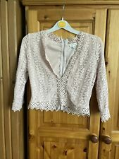 River Island Dusky Nude Pink Boho Embroidered Lace Lined Top Size 12