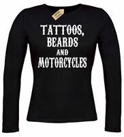 Ladies Tattoos Beards and Motorcycles Biker T-Shirt Long sleeve womens top gift