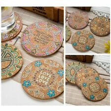 4X Natural Cork Round Cup Mat Drink Coffee Coasters Heat Insulation Patterned cn