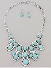 ELEGANT TURQUOISE STONE STUD CLEAR CRYSTAL SILVER TONE NECKLACE EARRING