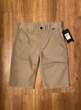 Nwt $42 Hurley Boys Chino Walk Surf Skate School Uniform Shorts Sz 14/27 Khaki