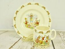 Royal Doulton English Fine Bone China Bunnykins Cup and Plate Peter Cottontail