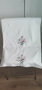Pair of Vintage pillowcases beautiful embroidered floral white cotton Unused