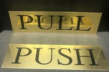 Set Of 2 Solid Brass One Sided Push & Pull Sign Plates