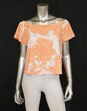 GUESS NWT Amour Top Orange Poppy Print Off Shoulder Short Sleeve Shirt sz S
