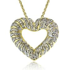 0.50ct TDW Diamond Wave Heart Necklace Gold Tone
