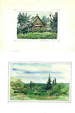 """2 watercolor old drawings on paper. """"Landscape"""" and """"Village"""" signed"""