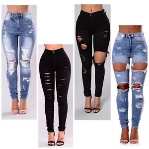 WOMENS LADIES  HIGH WAISTED  RIPPED  SKINNY JEANS FAB GREAT GIFT SIZE 6-16UK
