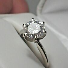 1.50 Ct Moissanite Solitaire Engagement Ring 14K White Gold Over Excellent Round
