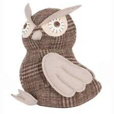 Grey and Brown Fabric Owl Doorstop