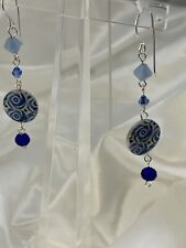 Dangling Earrings Non Toxic Mother Of Pearl/blue Swarovski Crystal