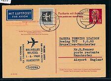 96690) Belgien SABENA FF Brüssel - Manchester GB/UK 1.6.60, 15PF GA ab DDR