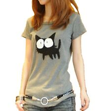 Womens Japan Cute Summer Kitty Cat Fashion Prints Top UK Sz 8-14 Grey 8