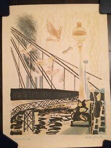 Alistair Grant vintage original lithograph - Birds and Bridge 1959