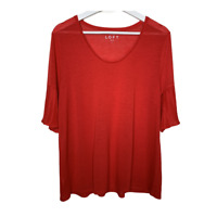 Ann Taylor Loft Womens Scoop Neck Top Short Sleeves Pleats Red Shirt Size Large