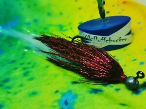 PIKE /BASS- full metal red/pearl 6 grm jig 10/11 inch made in scotland