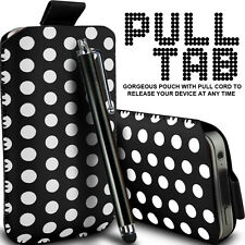 LEATHER POLKA & ZEBRA PULL TAB CASE POUCH + STYLUS FOR VARIOUS VODAFONE MOBILE