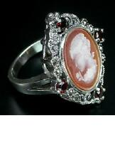 925 STERLING SILVER 0.52 CTW GARNET, MARCASITES & CAMEO RING SIZE N