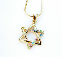 New Necklace & pendant rhodium gold.Jewish Star of David Colorful stones.israel