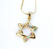 New Necklace & pendant rhodium gold.Jewish Star of David Colorful stones.israel