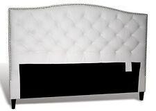King, White Genuine Leather, Diamond Tufted Headboard w/ Pewter Nail Head Trim