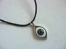 A Wax Cord Tibetan Silver Kabbalah Lucky Evil Eye Charm Pendant Necklace