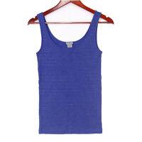 Ann Taylor Women's Blue Metallic Striped Stretch Tank Top - Size Small