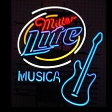 "New Miller Lite Musica Guitar Beer Bar Pub Light Lamp Neon Sign 24""x20"""