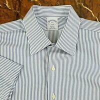 Brooks Brothers Regent Men's Large 16.5 Blue Striped Short Sleeve Non-Iron Shirt