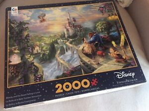 Disney Thomas Kinkade 2000 Piece Puzzle - Beauty and the Beast Falling in Love