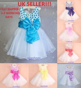 Girls Flower Formal Wedding Bridesmaid Party Prom Christening Dress