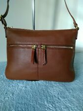 Fossil Authentic Cow Hide Leather Brown Medium Shoulder Cross Body Hand Bag N36