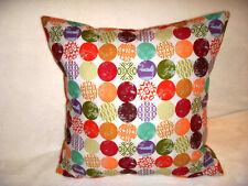 Handmade Pillow Cover Circles Red Purple Green Orange Turquoise Burgundy Boho