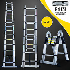16.5FT Multi-Purpose Folding Telescopic Aluminium A Frame Shape Ladder