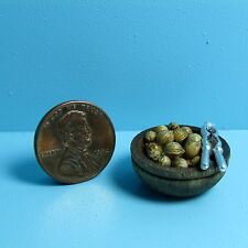 Dollhouse Miniature Wood Bowl of Mixed Nuts with Metal Nut Cracker ISL08282