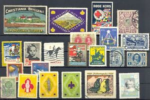 DENMARK + SCANDINAVIA 22 STAMPS -POSTER STAMP / BACK OF BOOK - F/VF