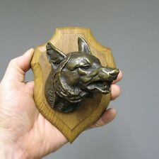 Bronze animalier.Tête de loup. Chasse venerie.