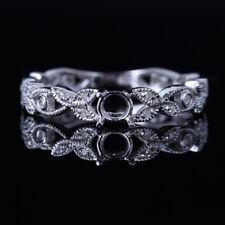 4MM ROUND CUT 14K WHITE GOLD ART VINTAGE ENGAGEMENT WEDDING DIAMOND FINE RING