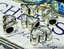 5PC Lot Antique Silver Plated Double Hearts European Charms Beads fit Bracelets