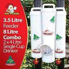 DINE-A-CHOOK Chicken Feeder & Drinker Combo / Chook Waterer 8 Litres / Poultry