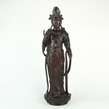 Antique Chinese Sandalwood Carving Guanyin Statue