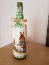 Easter, Shabby chic decoupage bottle, decorative glass, handmade,rabbit