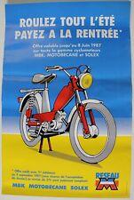 AFFICHE ORIGINALE MOTOBECANE MBK SOLEX 1987 Mobylette bleue AV 88 MOB